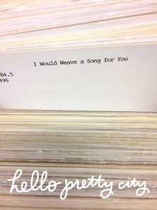 i would weave a song for you card catalog entry